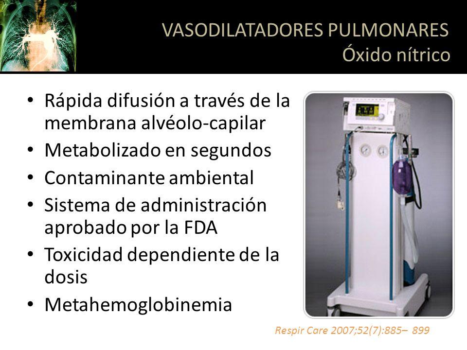 Rápida difusión a través de la membrana alvéolo-capilar Metabolizado en segundos Contaminante ambiental Sistema de administración aprobado por la FDA