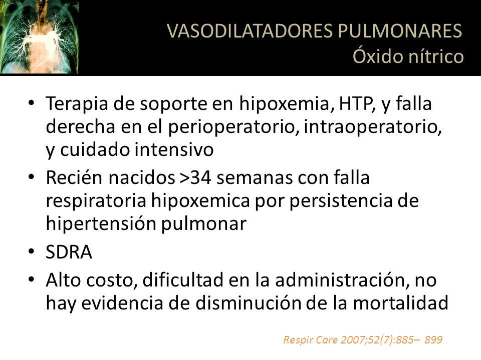 Terapia de soporte en hipoxemia, HTP, y falla derecha en el perioperatorio, intraoperatorio, y cuidado intensivo Recién nacidos >34 semanas con falla