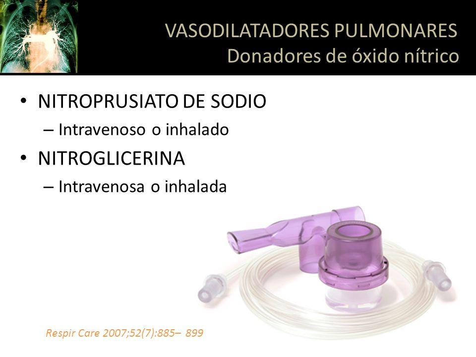 NITROPRUSIATO DE SODIO – Intravenoso o inhalado NITROGLICERINA – Intravenosa o inhalada VASODILATADORES PULMONARES Donadores de óxido nítrico Respir C