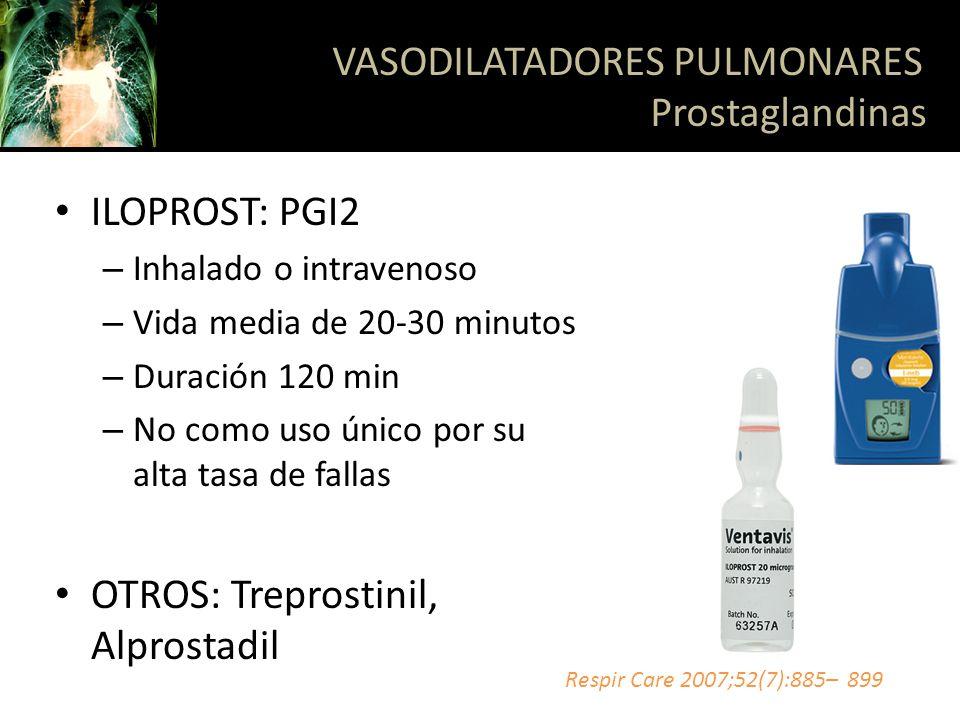 ILOPROST: PGI2 – Inhalado o intravenoso – Vida media de 20-30 minutos – Duración 120 min – No como uso único por su alta tasa de fallas OTROS: Trepros