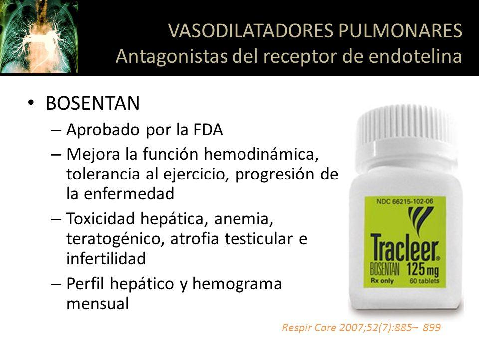BOSENTAN – Aprobado por la FDA – Mejora la función hemodinámica, tolerancia al ejercicio, progresión de la enfermedad – Toxicidad hepática, anemia, te