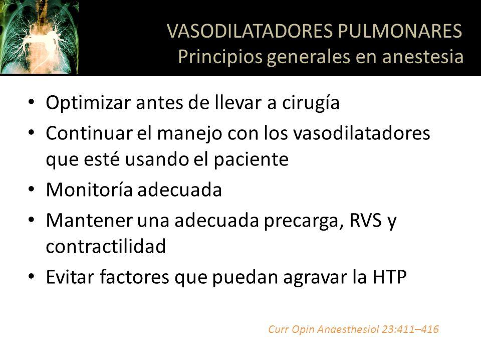 Optimizar antes de llevar a cirugía Continuar el manejo con los vasodilatadores que esté usando el paciente Monitoría adecuada Mantener una adecuada p