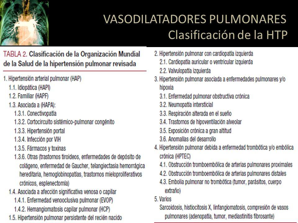 ILOPROST: PGI2 – Inhalado o intravenoso – Vida media de 20-30 minutos – Duración 120 min – No como uso único por su alta tasa de fallas OTROS: Treprostinil, Alprostadil VASODILATADORES PULMONARES Prostaglandinas Respir Care 2007;52(7):885– 899