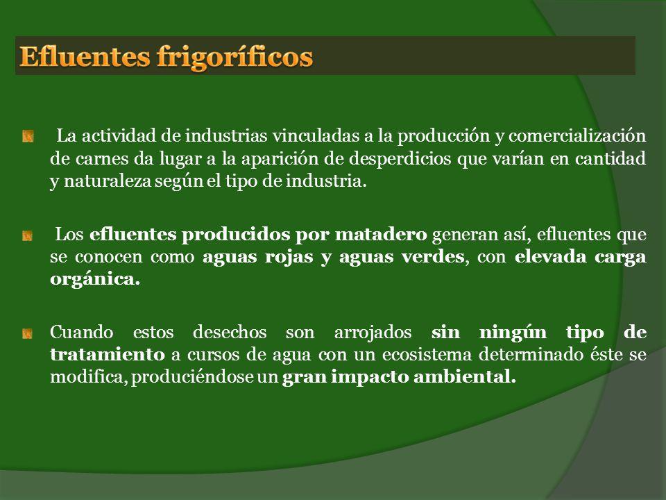La actividad de industrias vinculadas a la producción y comercialización de carnes da lugar a la aparición de desperdicios que varían en cantidad y naturaleza según el tipo de industria.