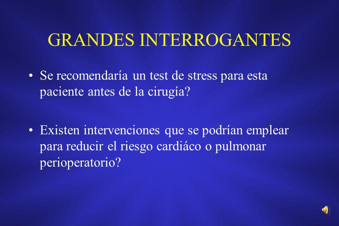 GRANDES INTERROGANTES Se recomendaría un test de stress para esta paciente antes de la cirugía? Existen intervenciones que se podrían emplear para red