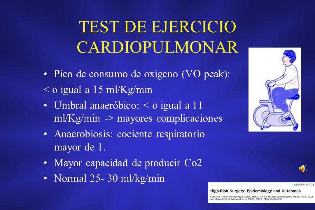 TEST DE EJERCICIO CARDIOPULMONAR Pico de consumo de oxigeno (VO peak): < o igual a 15 ml/Kg/min Umbral anaeróbico: mayores complicaciones Anaerobiosis