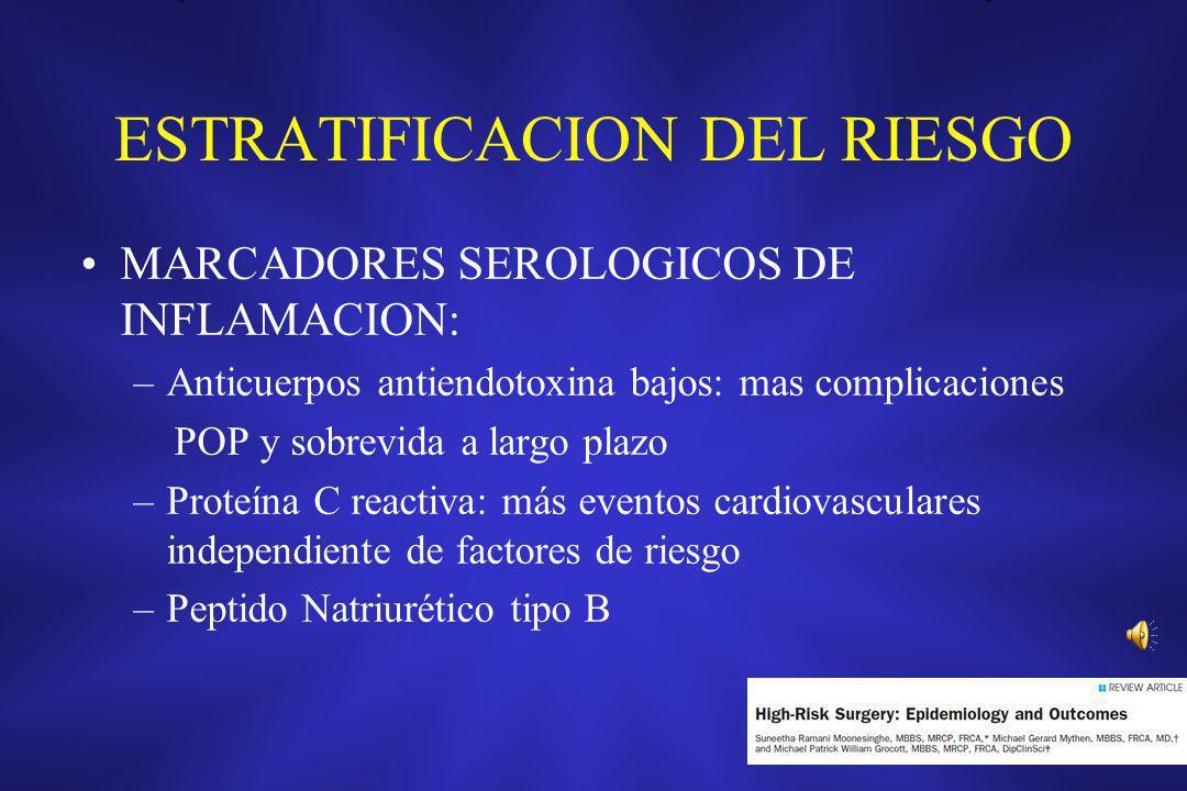 ESTRATIFICACION DEL RIESGO MARCADORES SEROLOGICOS DE INFLAMACION: –Anticuerpos antiendotoxina bajos: mas complicaciones POP y sobrevida a largo plazo