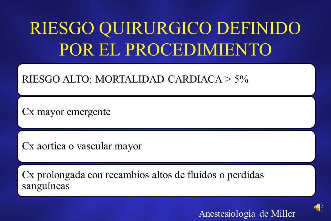 RIESGO QUIRURGICO DEFINIDO POR EL PROCEDIMIENTO RIESGO ALTO: MORTALIDAD CARDIACA > 5%Cx mayor emergenteCx aortica o vascular mayor Cx prolongada con r