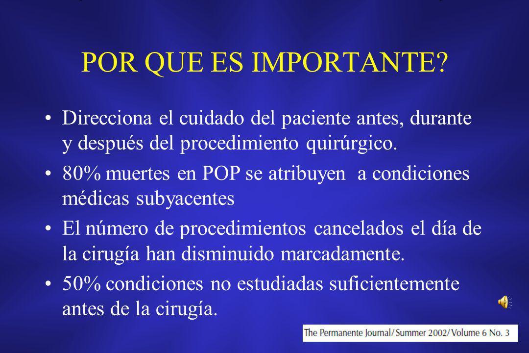 POR QUE ES IMPORTANTE? Direcciona el cuidado del paciente antes, durante y después del procedimiento quirúrgico. 80% muertes en POP se atribuyen a con