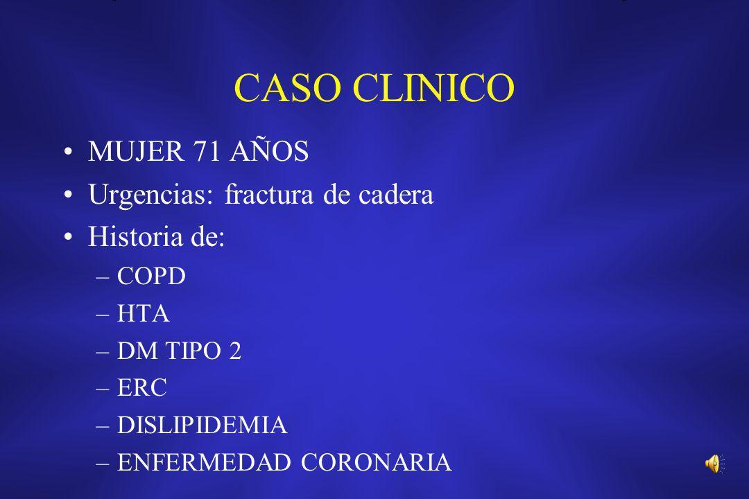 CASO CLINICO MUJER 71 AÑOS Urgencias: fractura de cadera Historia de: –COPD –HTA –DM TIPO 2 –ERC –DISLIPIDEMIA –ENFERMEDAD CORONARIA