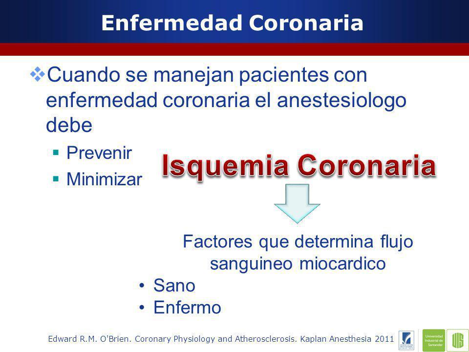 Enfermedad Coronaria Cuando se manejan pacientes con enfermedad coronaria el anestesiologo debe Prevenir Minimizar Edward R.M.