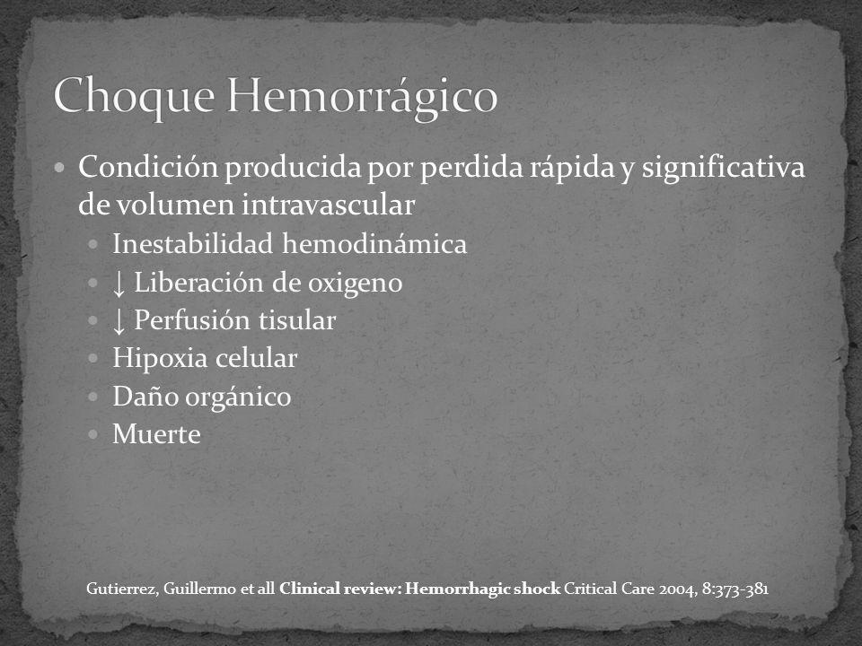 Condición producida por perdida rápida y significativa de volumen intravascular Inestabilidad hemodinámica Liberación de oxigeno Perfusión tisular Hipoxia celular Daño orgánico Muerte Gutierrez, Guillermo et all Clinical review: Hemorrhagic shock Critical Care 2004, 8:373-381