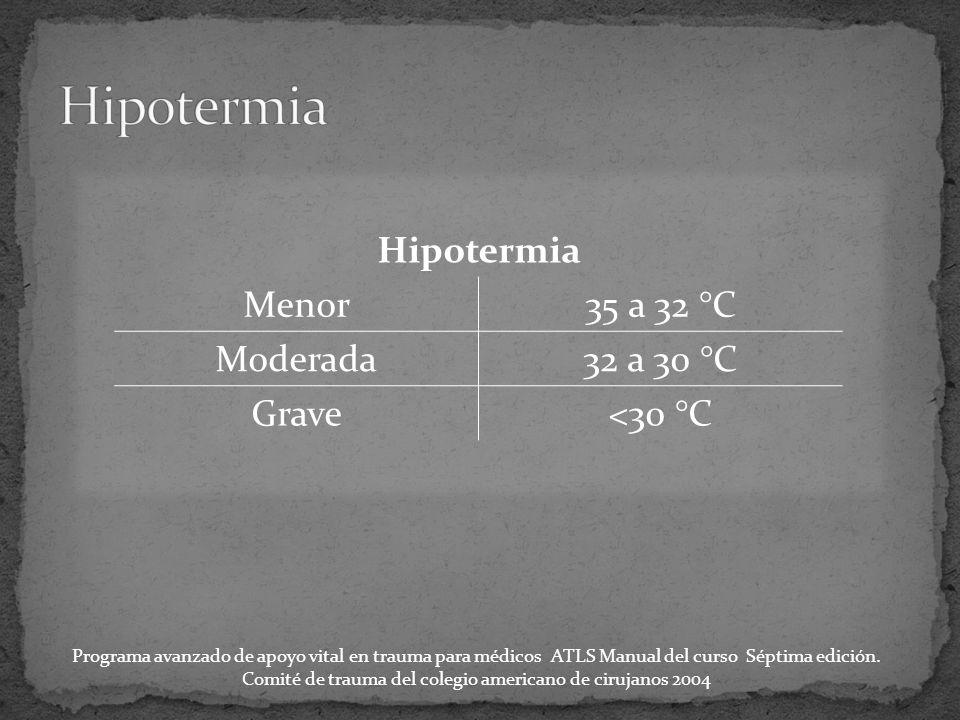 Hipotermia Menor35 a 32 °C Moderada32 a 30 °C Grave<30 °C Programa avanzado de apoyo vital en trauma para médicos ATLS Manual del curso Séptima edición.