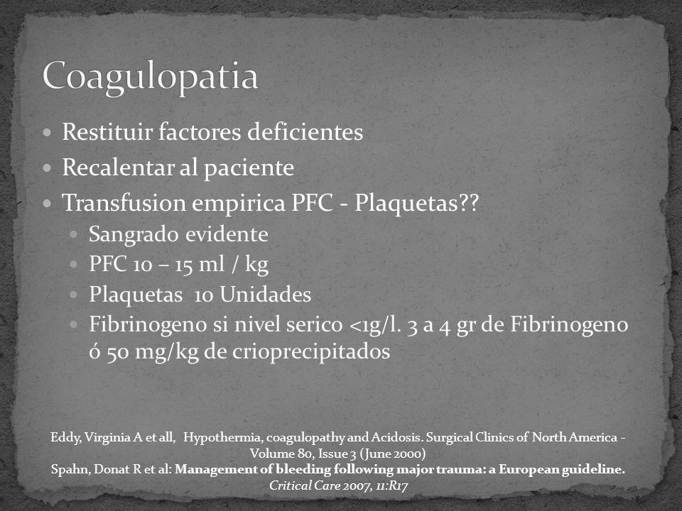 Restituir factores deficientes Recalentar al paciente Transfusion empirica PFC - Plaquetas .