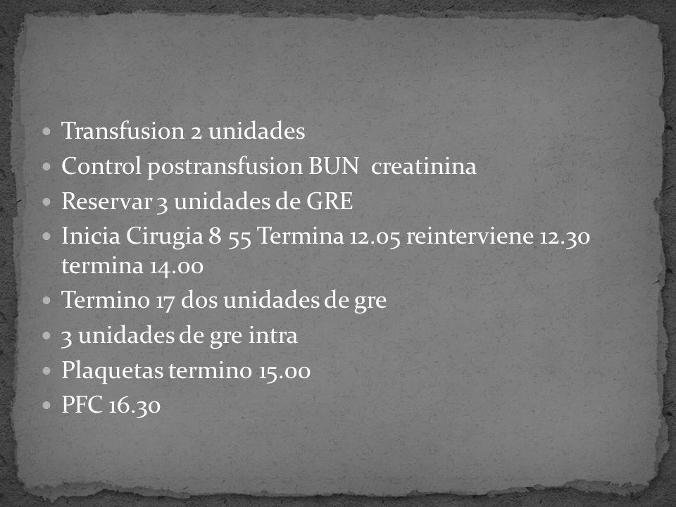 Transfusion 2 unidades Control postransfusion BUN creatinina Reservar 3 unidades de GRE Inicia Cirugia 8 55 Termina 12.05 reinterviene 12.30 termina 14.00 Termino 17 dos unidades de gre 3 unidades de gre intra Plaquetas termino 15.00 PFC 16.30