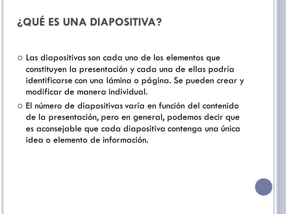 ¿QUÉ ES UNA DIAPOSITIVA? Las diapositivas son cada uno de los elementos que constituyen la presentación y cada una de ellas podría identificarse con u