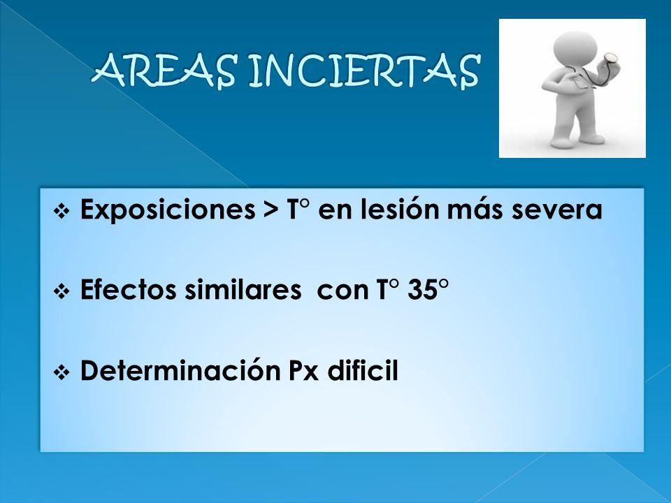 Exposiciones > T° en lesión más severa Efectos similares con T° 35° Determinación Px dificil Exposiciones > T° en lesión más severa Efectos similares