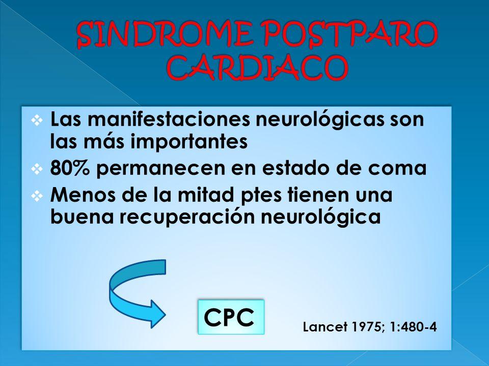 Las manifestaciones neurológicas son las más importantes 80% permanecen en estado de coma Menos de la mitad ptes tienen una buena recuperación neuroló