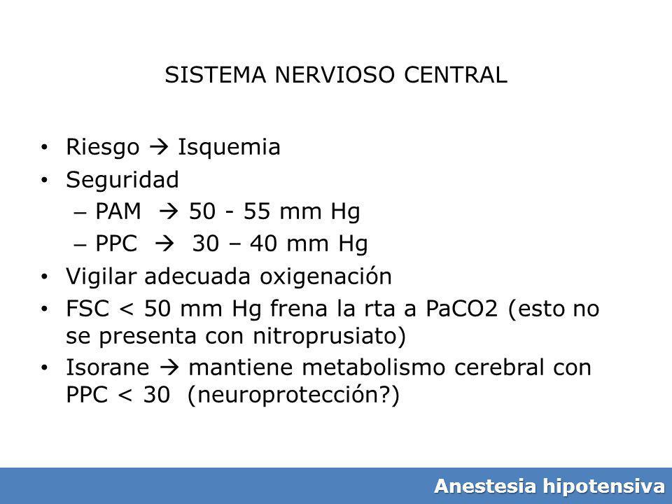 SISTEMA NERVIOSO CENTRAL Riesgo Isquemia Seguridad – PAM 50 - 55 mm Hg – PPC 30 – 40 mm Hg Vigilar adecuada oxigenación FSC < 50 mm Hg frena la rta a