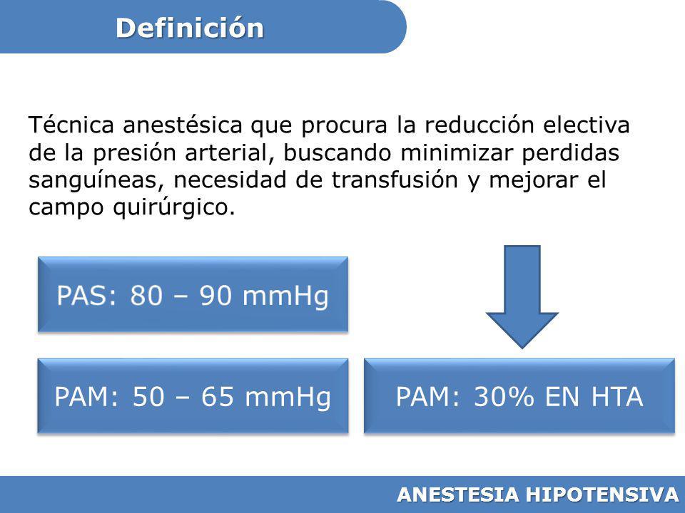 Definición ANESTESIA HIPOTENSIVA Técnica anestésica que procura la reducción electiva de la presión arterial, buscando minimizar perdidas sanguíneas,