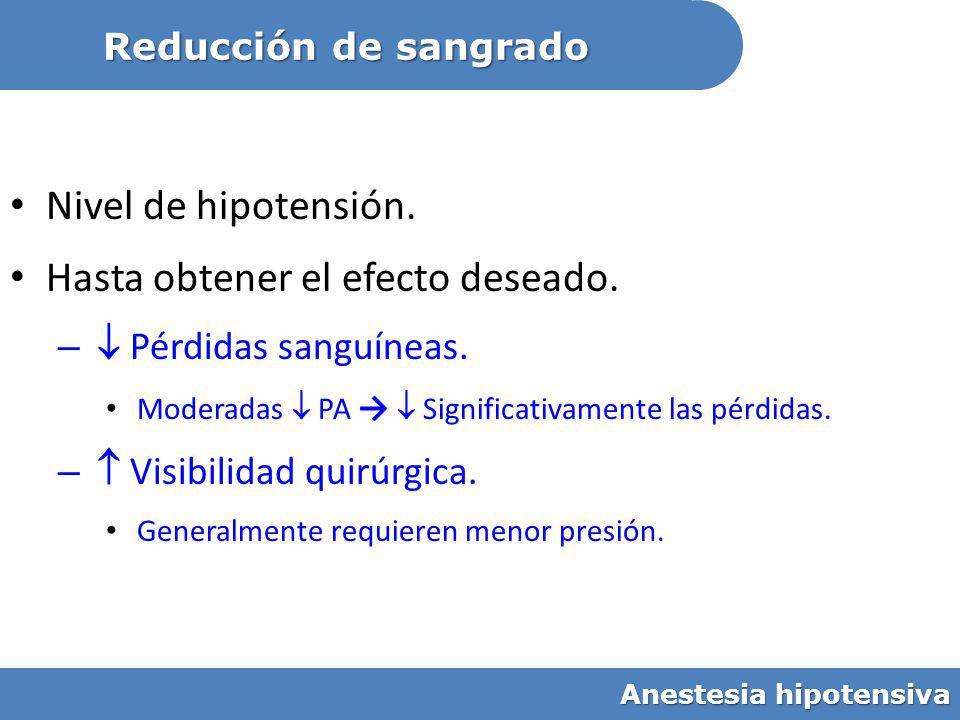 Nivel de hipotensión. Hasta obtener el efecto deseado. – Pérdidas sanguíneas. Moderadas PA Significativamente las pérdidas. – Visibilidad quirúrgica.