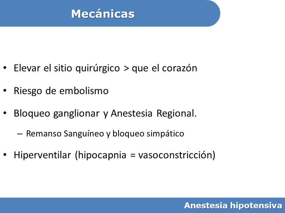 Elevar el sitio quirúrgico > que el corazón Riesgo de embolismo Bloqueo ganglionar y Anestesia Regional. – Remanso Sanguíneo y bloqueo simpático Hiper