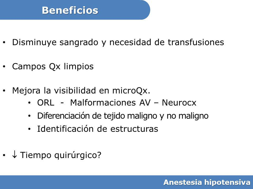 Beneficios Disminuye sangrado y necesidad de transfusiones Campos Qx limpios Mejora la visibilidad en microQx. ORL - Malformaciones AV – Neurocx Difer