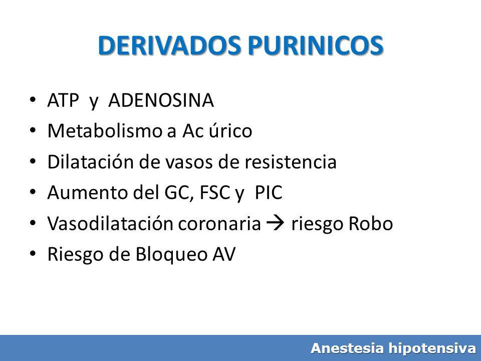 DERIVADOS PURINICOS ATP y ADENOSINA Metabolismo a Ac úrico Dilatación de vasos de resistencia Aumento del GC, FSC y PIC Vasodilatación coronaria riesg