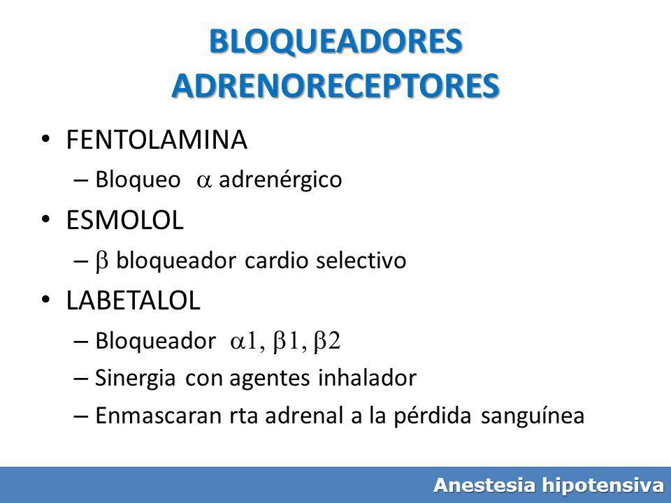 BLOQUEADORES ADRENORECEPTORES FENTOLAMINA – Bloqueo adrenérgico ESMOLOL – bloqueador cardio selectivo LABETALOL – Bloqueador – Sinergia con agentes in