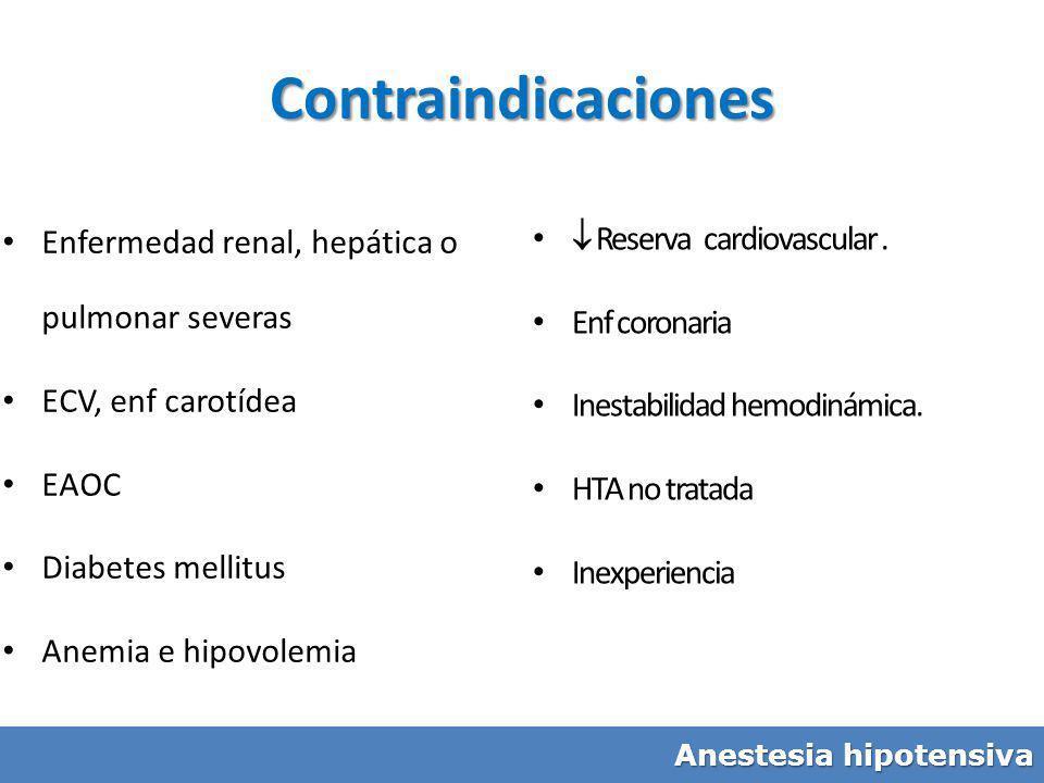 Enfermedad renal, hepática o pulmonar severas ECV, enf carotídea EAOC Diabetes mellitus Anemia e hipovolemia Reserva cardiovascular. Enf coronaria Ine