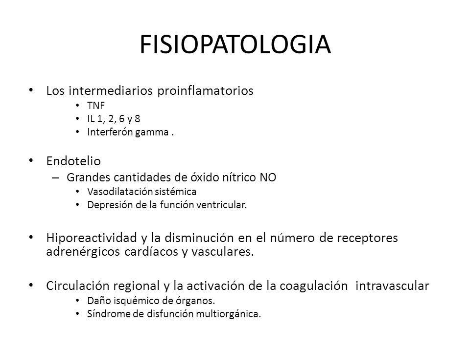 FISIOPATOLOGIA Los intermediarios proinflamatorios TNF IL 1, 2, 6 y 8 Interferón gamma. Endotelio – Grandes cantidades de óxido nítrico NO Vasodilatac