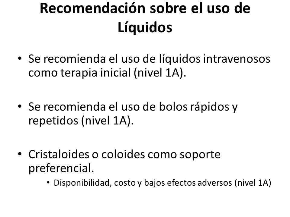 Recomendación sobre el uso de Líquidos Se recomienda el uso de líquidos intravenosos como terapia inicial (nivel 1A). Se recomienda el uso de bolos rá