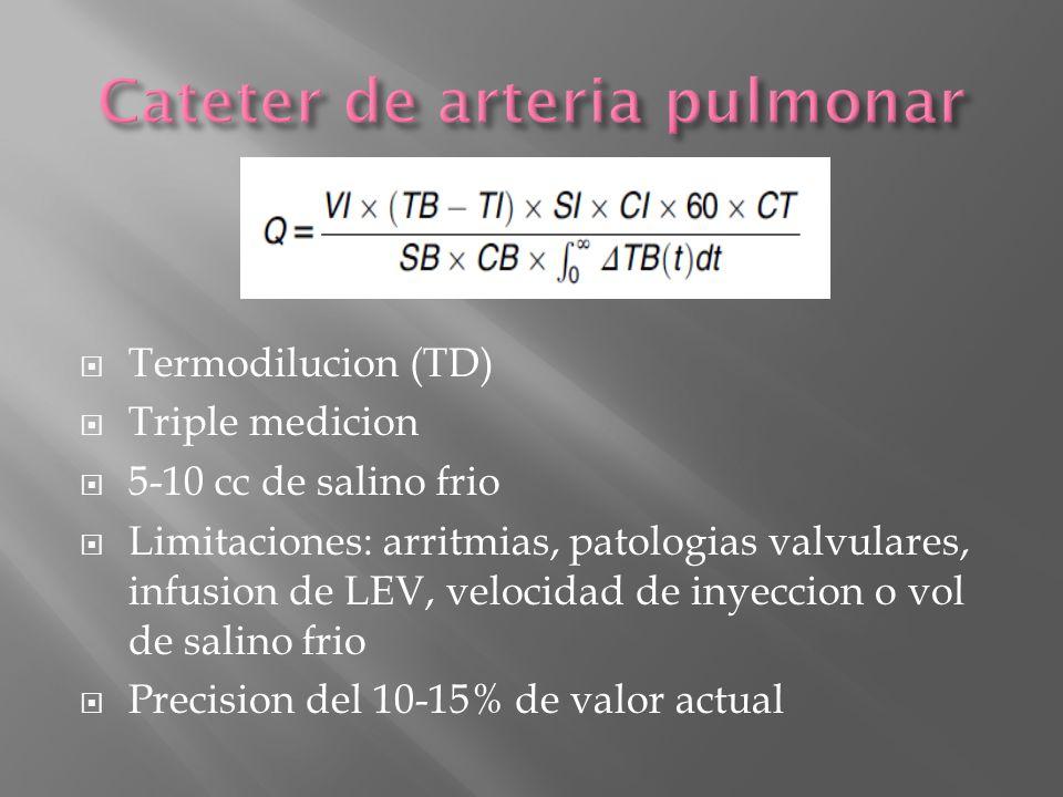 Termodilucion (TD) Triple medicion 5-10 cc de salino frio Limitaciones: arritmias, patologias valvulares, infusion de LEV, velocidad de inyeccion o vo