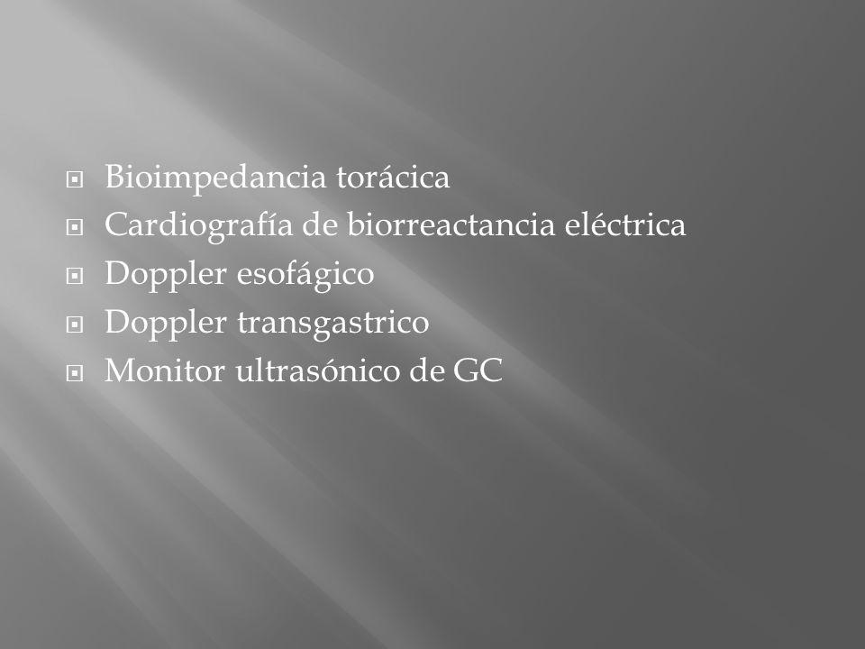 Bioimpedancia torácica Cardiografía de biorreactancia eléctrica Doppler esofágico Doppler transgastrico Monitor ultrasónico de GC