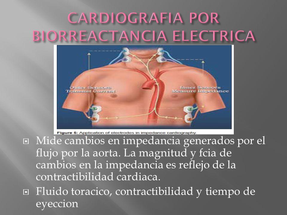 Mide cambios en impedancia generados por el flujo por la aorta. La magnitud y fcia de cambios en la impedancia es reflejo de la contractibilidad cardi