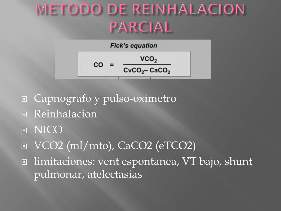 Capnografo y pulso-oximetro Reinhalacion NICO VCO2 (ml/mto), CaCO2 (eTCO2) limitaciones: vent espontanea, VT bajo, shunt pulmonar, atelectasias