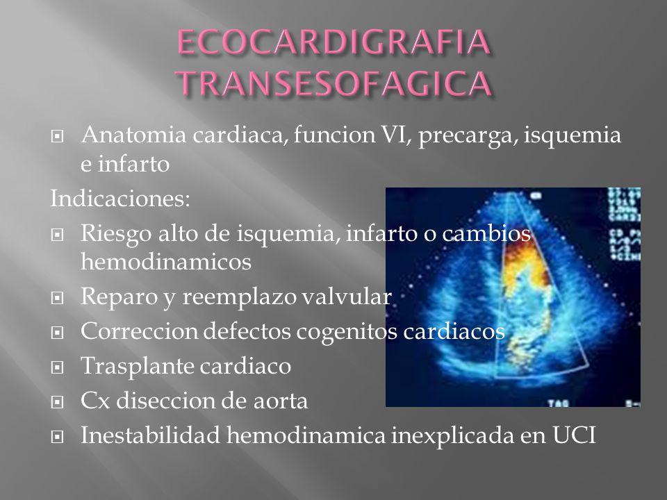 Anatomia cardiaca, funcion VI, precarga, isquemia e infarto Indicaciones: Riesgo alto de isquemia, infarto o cambios hemodinamicos Reparo y reemplazo
