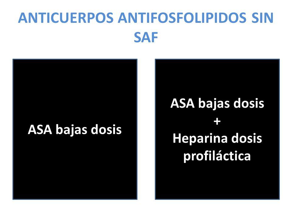 ANTICUERPOS ANTIFOSFOLIPIDOS SIN SAF ASA bajas dosis + Heparina dosis profiláctica