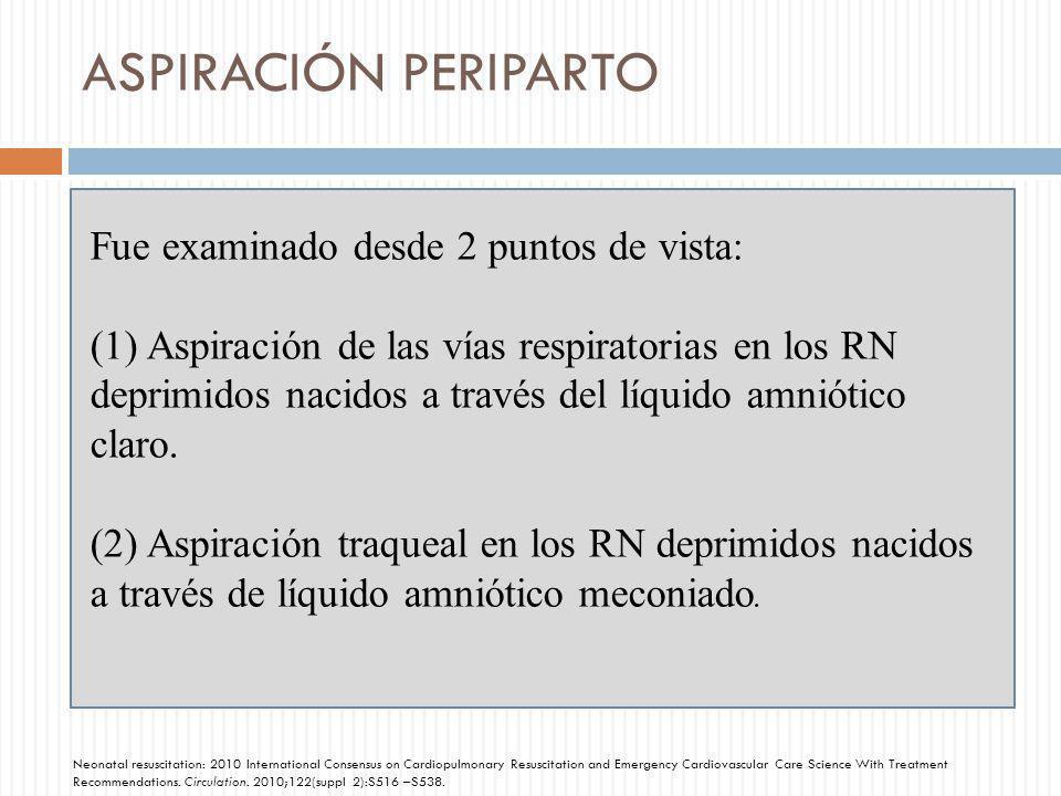 ASPIRACIÓN PERIPARTO Fue examinado desde 2 puntos de vista: (1) Aspiración de las vías respiratorias en los RN deprimidos nacidos a través del líquido