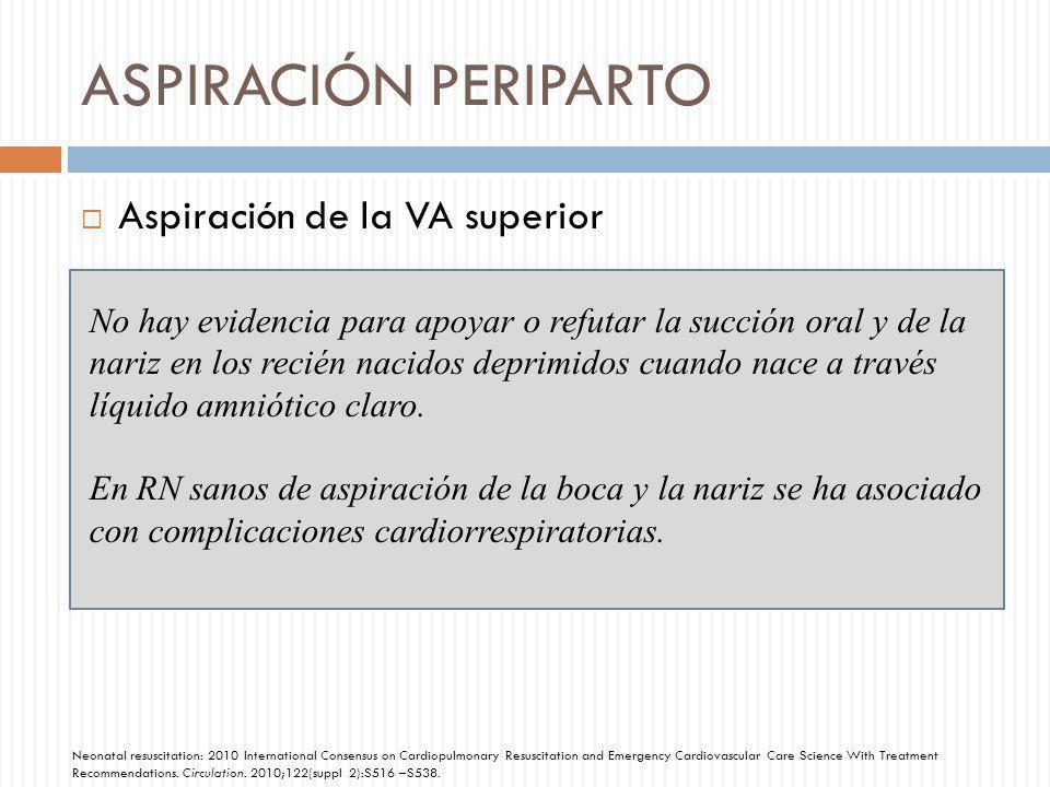 ASPIRACIÓN PERIPARTO Aspiración de la VA superior No hay evidencia para apoyar o refutar la succión oral y de la nariz en los recién nacidos deprimido