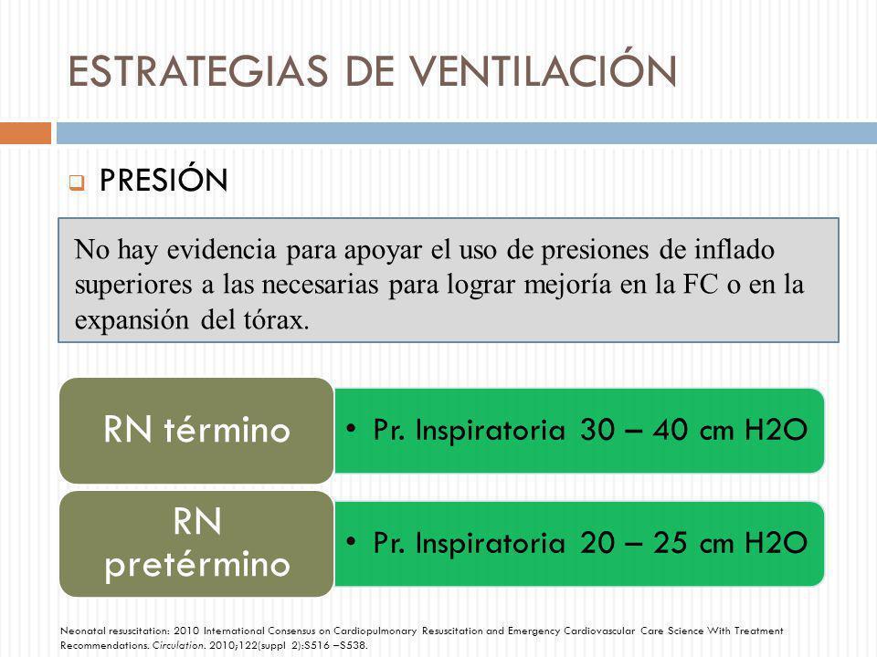 ESTRATEGIAS DE VENTILACIÓN PRESIÓN No hay evidencia para apoyar el uso de presiones de inflado superiores a las necesarias para lograr mejoría en la F