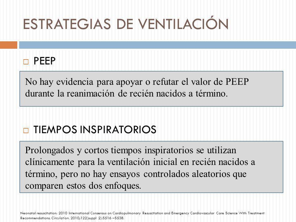 ESTRATEGIAS DE VENTILACIÓN PEEP TIEMPOS INSPIRATORIOS No hay evidencia para apoyar o refutar el valor de PEEP durante la reanimación de recién nacidos