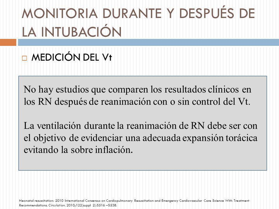MONITORIA DURANTE Y DESPUÉS DE LA INTUBACIÓN MEDICIÓN DEL Vt No hay estudios que comparen los resultados clínicos en los RN después de reanimación con