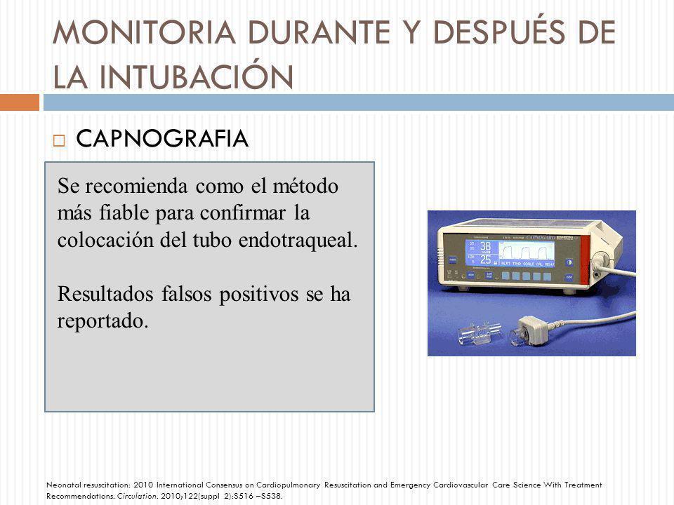 MONITORIA DURANTE Y DESPUÉS DE LA INTUBACIÓN CAPNOGRAFIA Se recomienda como el método más fiable para confirmar la colocación del tubo endotraqueal. R