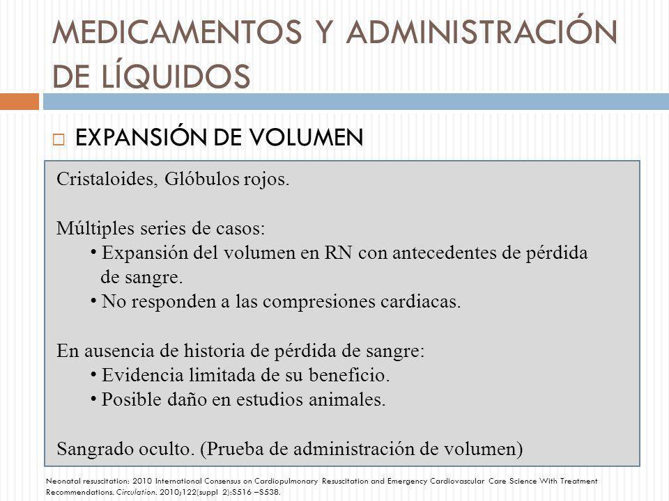 MEDICAMENTOS Y ADMINISTRACIÓN DE LÍQUIDOS EXPANSIÓN DE VOLUMEN Cristaloides, Glóbulos rojos. Múltiples series de casos: Expansión del volumen en RN co