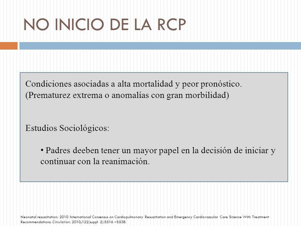 NO INICIO DE LA RCP Condiciones asociadas a alta mortalidad y peor pronóstico. (Prematurez extrema o anomalías con gran morbilidad) Estudios Sociológi