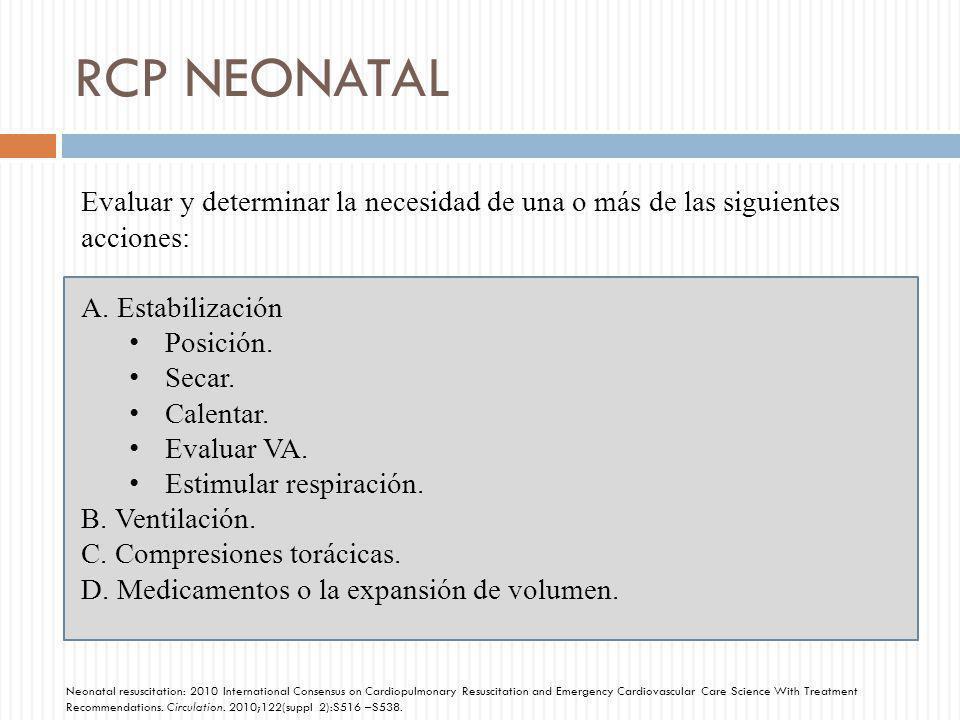 RCP NEONATAL Evaluar y determinar la necesidad de una o más de las siguientes acciones: A.Estabilización Posición. Secar. Calentar. Evaluar VA. Estimu