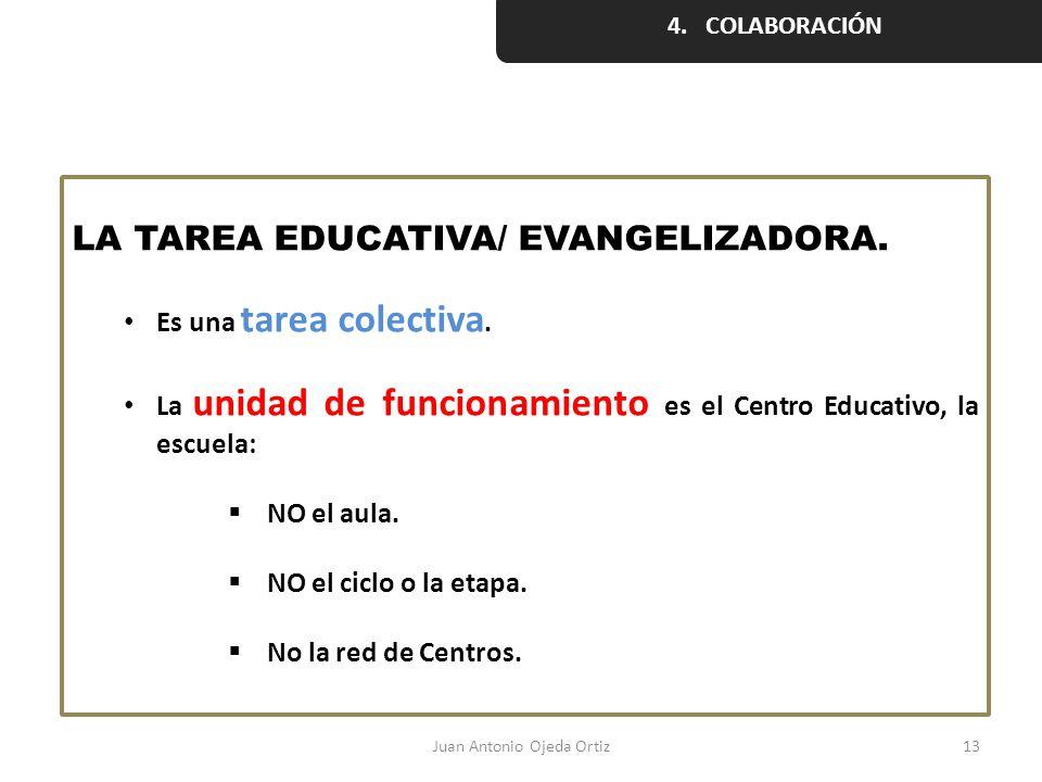 Juan Antonio Ojeda Ortiz13 LA TAREA EDUCATIVA/ EVANGELIZADORA. Es una tarea colectiva. La unidad de funcionamiento es el Centro Educativo, la escuela: