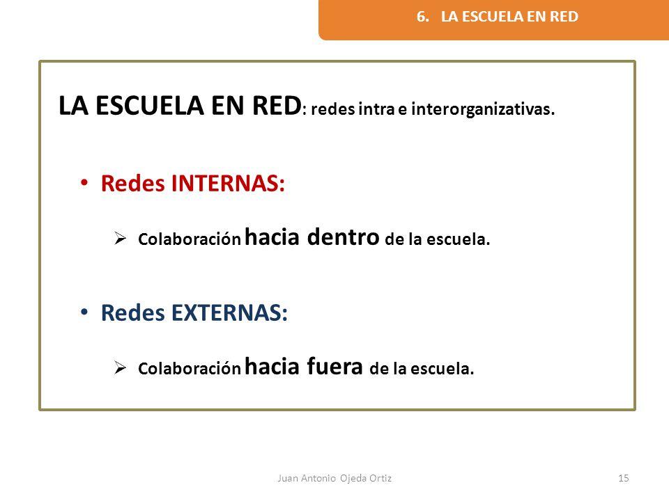 Juan Antonio Ojeda Ortiz15 LA ESCUELA EN RED : redes intra e interorganizativas. Redes INTERNAS: Colaboración hacia dentro de la escuela. Redes EXTERN