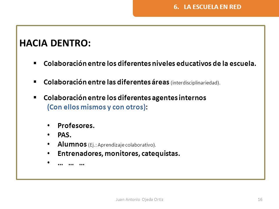 Juan Antonio Ojeda Ortiz16 HACIA DENTRO: Colaboración entre los diferentes niveles educativos de la escuela. Colaboración entre las diferentes áreas (